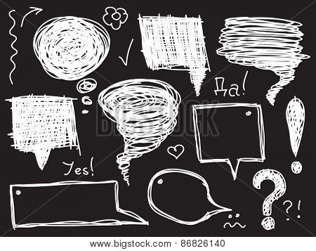 Sketch of speech and thought bubbles, Hand drawn Vector illustration