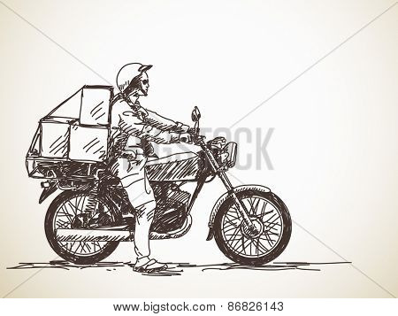 Sketch of motorcycle delivery, Hand drawn Vector illustration