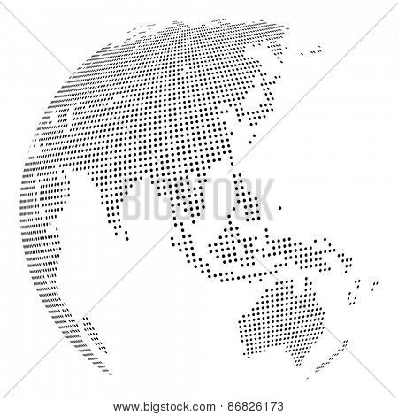 Abstract dotted globe, Central heating views over East Asia