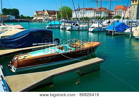 LINDAU, GERMANY - JUNE 11: Boats at port of Lindau harbour, Lake Constance, Bavaria, June 11 2014 in Lindau, Germany