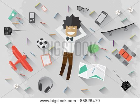Young man lie on the floor and dream Vector flat illustration