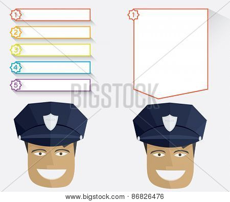 Policeman and blank message boards Vector illustration in flat style