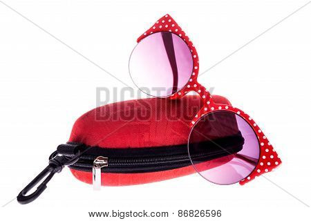 Red And White Sunglasses With Red Case
