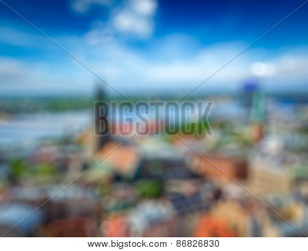 Blurred backgroun of European city - aerial view of Riga center from St. Peter's Church, Riga, Latvia