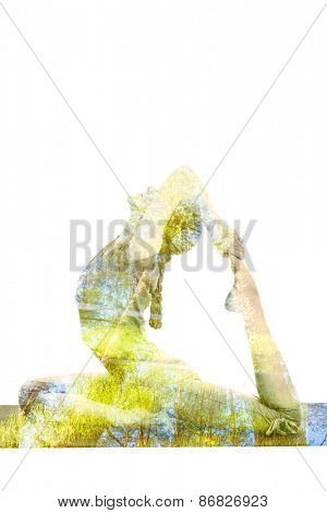 Nature harmony healthy lifestyle concept - double exposure image of  woman doing yoga asana King Pigeon Pose (Raja Kapotasana) exercise