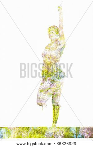Nature harmony healthy lifestyle concept - double exposure image of woman doing yoga prepare for Half Bound Lotus Standing Forward Bend(Ardha Baddha Padmottanasana) asana exercise isolated