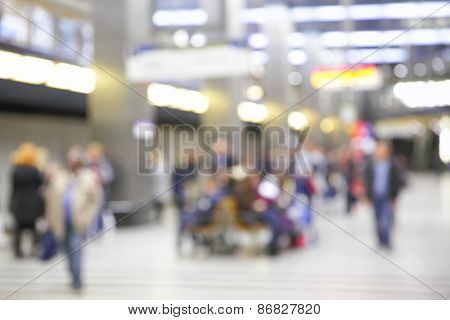 Background of railway station out of focus