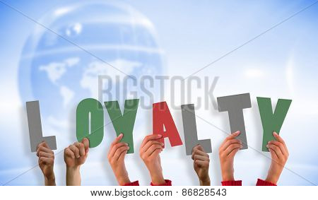 Hands showing loyalty against futuristic technology interface