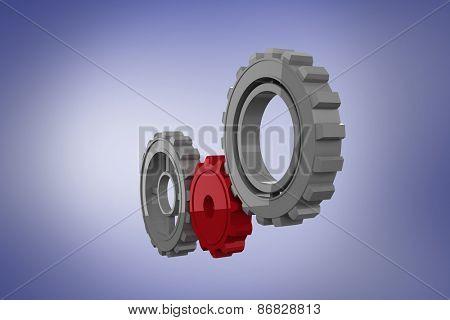 Cogs and wheels against purple vignette