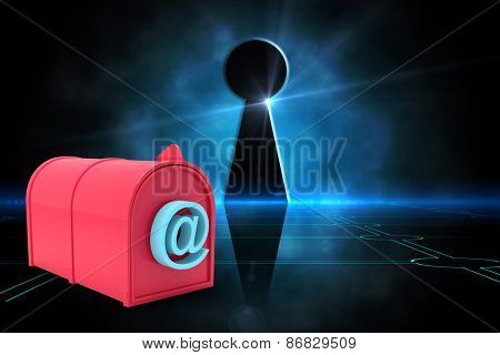 Red email post box against keyhole on technological black background