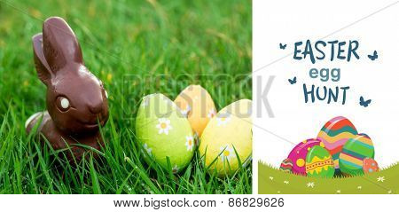 easter egg hunt graphic against chocolate bunny in the grass with easter eggs