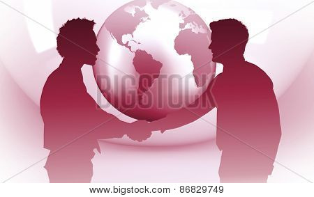 Smiling young businessmen shaking hands in office against planet on grey abstract background