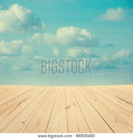 Mid air high sky view from wooden platform, sunrise with blue sky white cloud.
