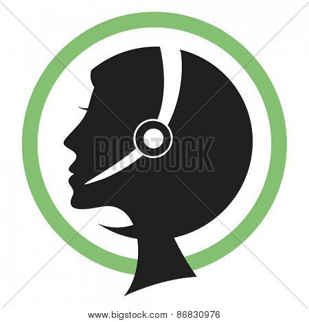 Call center assistant silhouette with headset.