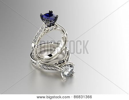 Golden Ring with sapphire. Jewelry background.