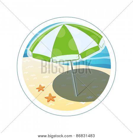 Beach umbrella. Eps10 vector illustration. Isolated on white background