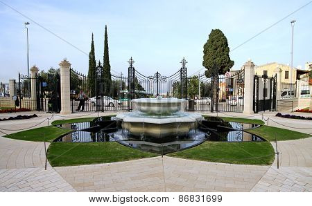 Fountain In Bahai Gardens In Haifa, Israel