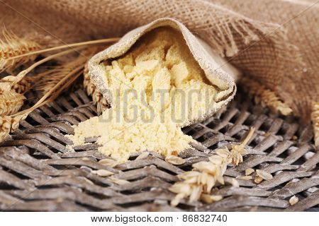Whole flour in bag with wheat ears on wicker mat, closeup