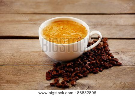Cup of coffee on table close-up