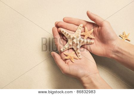 Summer vacation concept: Hands holding shells and starfish on the beach.