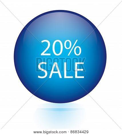 Sale twenty percent blue circular button