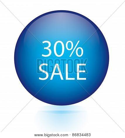 Sale thirty percent blue circular button