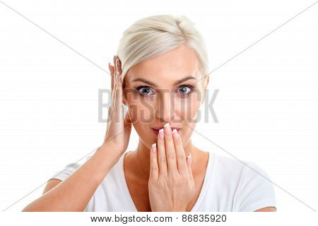 blonde woman showing emotions