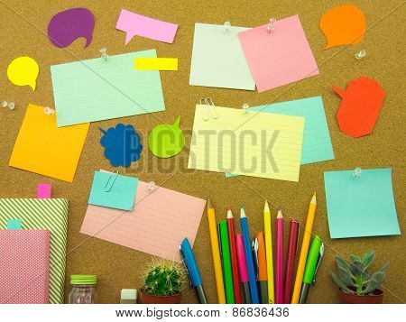 Colorful Balloons And Notes (cork Board Background)