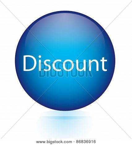 Discount blue circular button