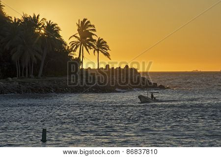 Dusk On A Pacific Ocean Coast