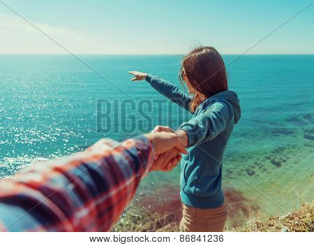 Loving Couple Resting On Beach