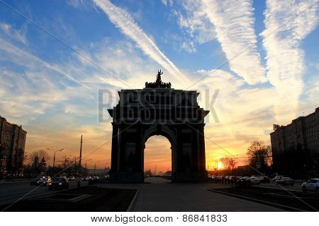 triumphal arch in Moscow in the sunset