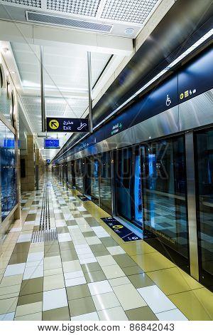 Dubai Metro Terminal In Dubai, United Arab Emirates.