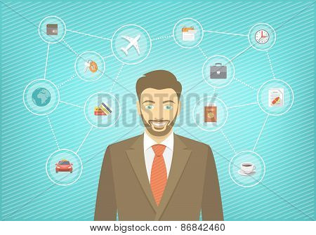 Modern Businessman Travel Conceptual Infographics