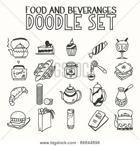 Food and beveranges morning breakfast lunch or dinner kitchen doodle hand drawn sketch rough simple