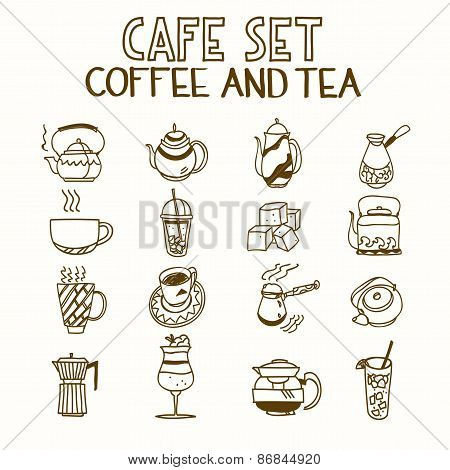 Cafe doodle set coffee and tea Morning breakfast lunch or dinner kitchen hand drawn sketch rough sim