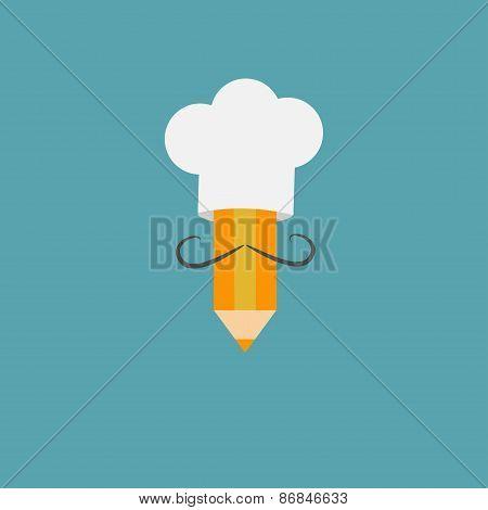 Chef Hat And Italian Mustache With Pencil. Menu Card. Recipe Concept. Flat Design Style.
