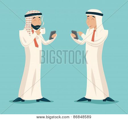 Arab Businessman Drink Coffee Tea Chat Mobile Phone Symbol Icon on Stylish Background Retro Cartoon