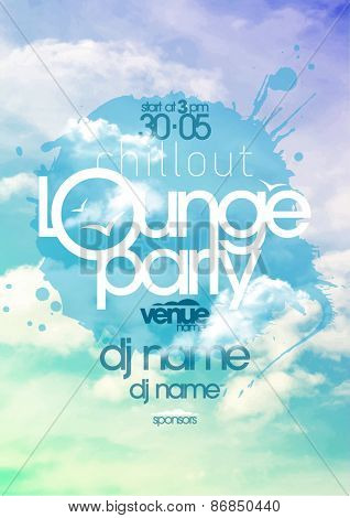 Chillout lounge party poster with cloudy sky backdrop.