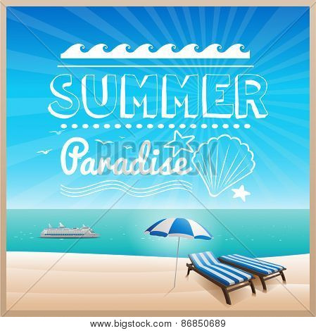Vintage summer beach typography design with labels, icons elements