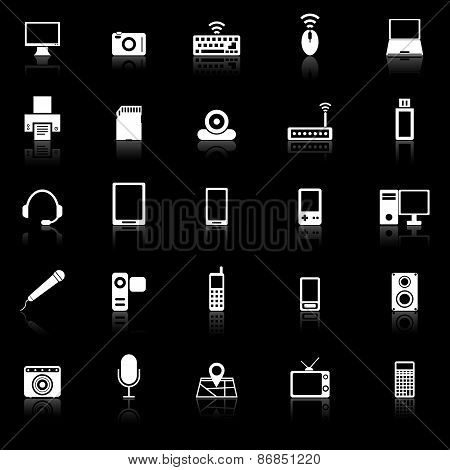 Gadget Icons With Reflect On Black Background