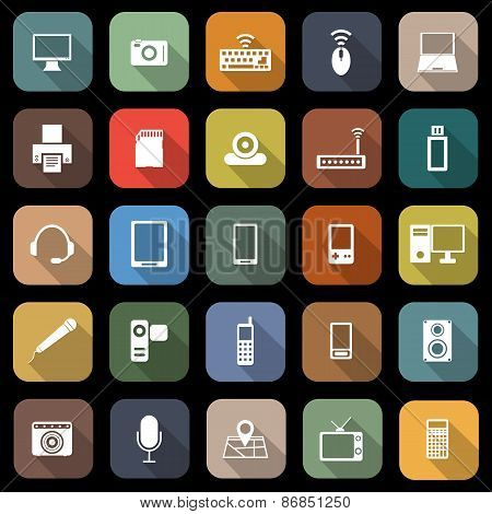Gadget Flat Icons With Long Shadow
