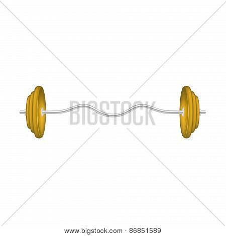 Barbell in silver and orange design