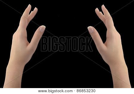 Woman's Hands Isolated On Black