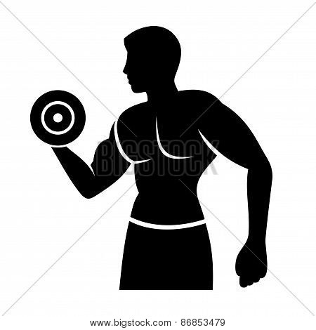 Muscular Man Silhouette Lifting Weights. Fitness Logo
