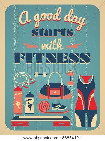 Fitness Vintage Poster. poster
