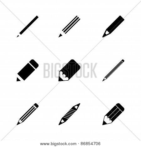 Vector pencil icon set