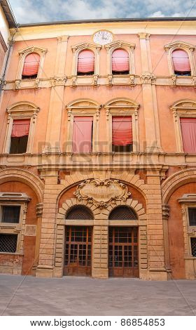 In The Courtyard Of The Palazzo Comunale In Bologna. Italy