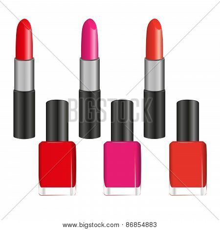 Set Of Lipsticks And Nail Varnishes