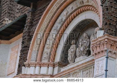 Sculpture At The Basilica Of San Petronio In Bologna. Italy